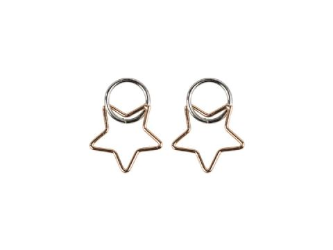 BENOITE 2 TONE STAR EARRINGS ROSE GOLD